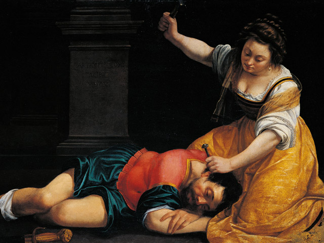 Jael and Sisera by Artemisia Gentileschi, 1620; Jael drives a tent peg with a hammer into Sisera's brain