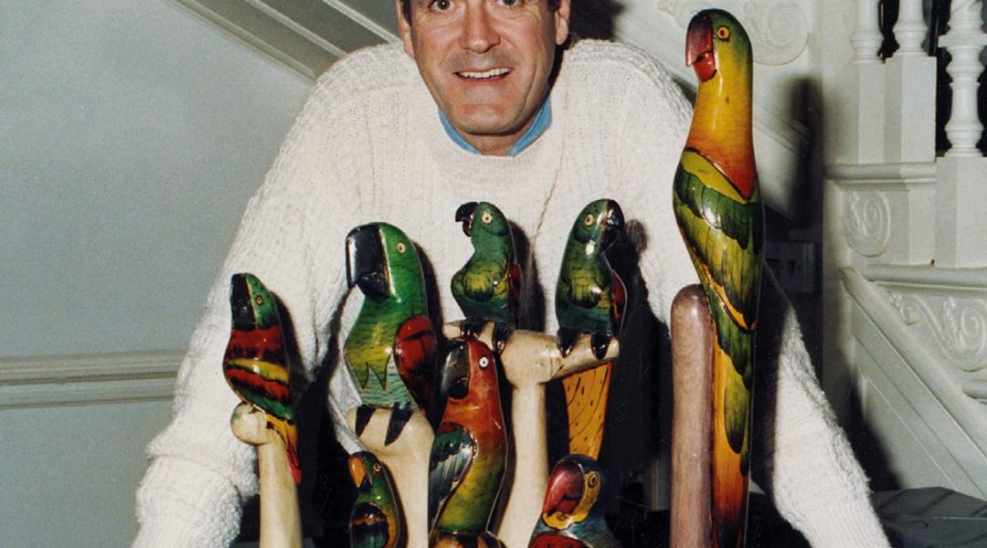 John with a few deceased parrots I gave him for his fiftieth birthday.